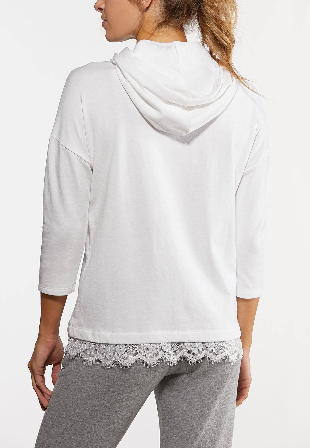 White Lace Trimmed Hoodie (Item #44168687)