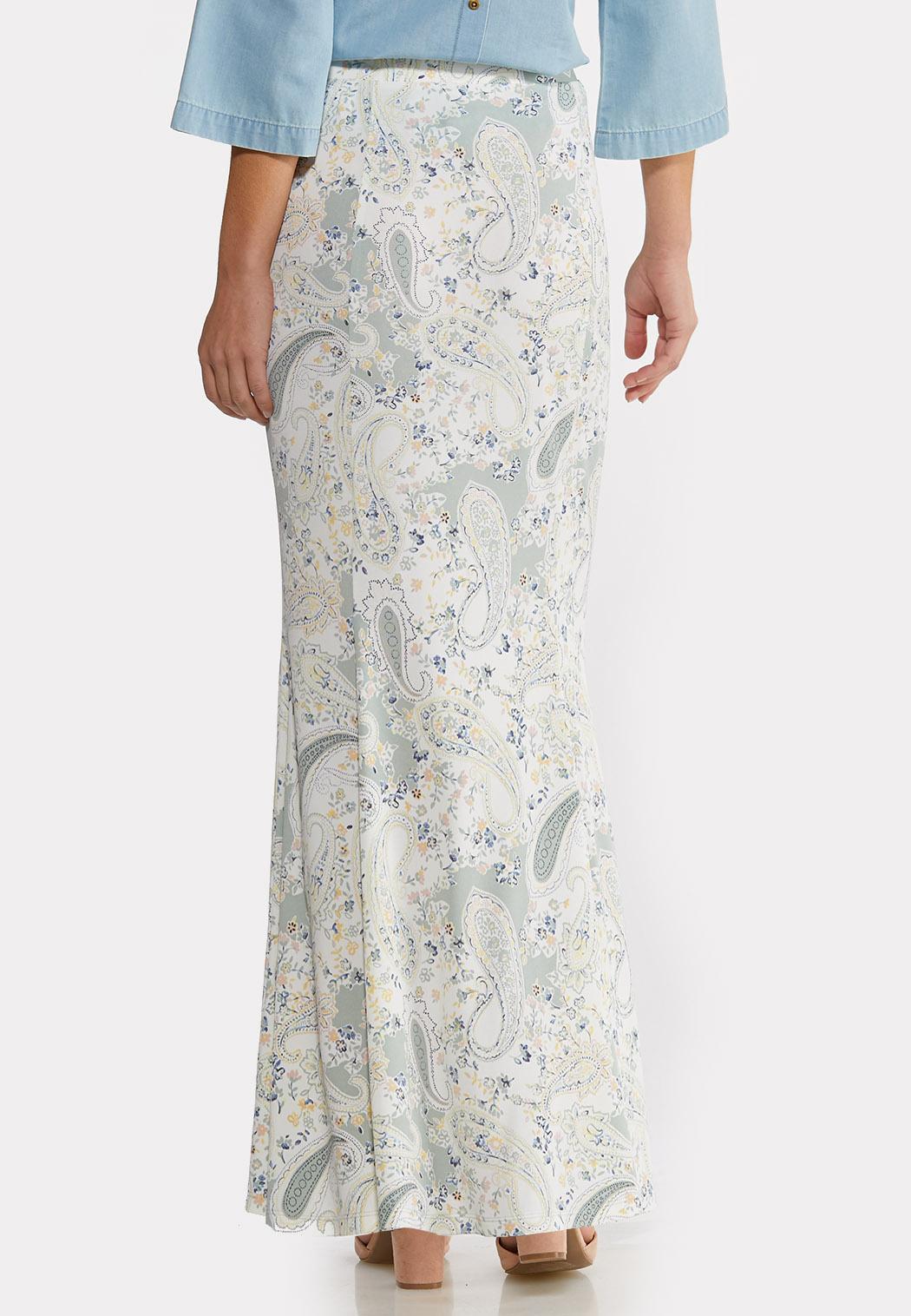 Plus Size Paisley Mermaid Maxi Skirt (Item #44168826)