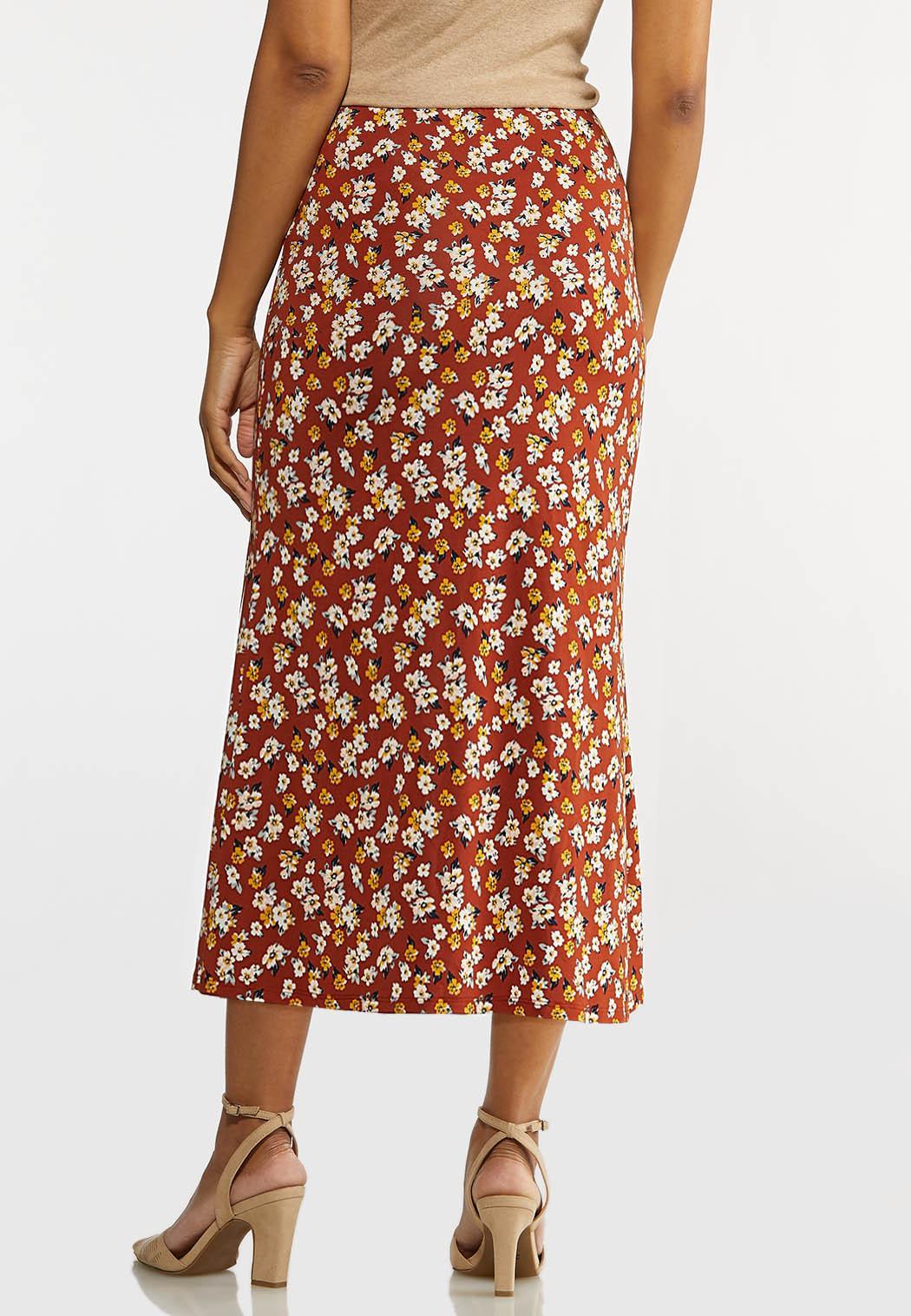 Plus Size Rust Floral Skirt (Item #44169216)