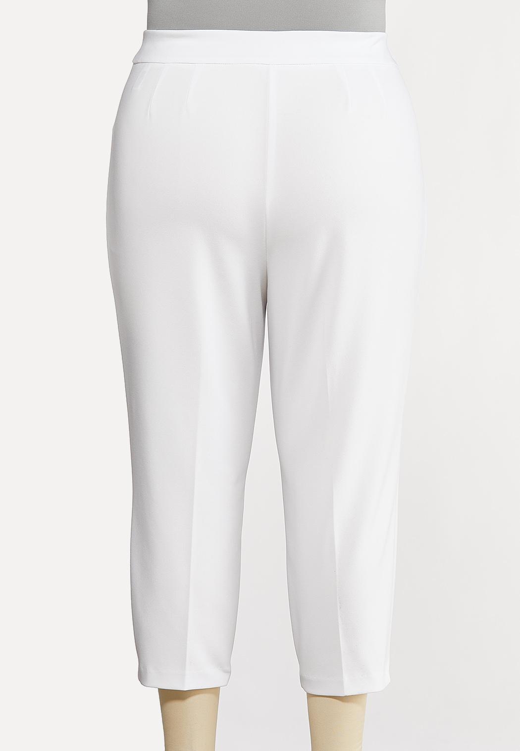 Plus Size Cropped Tie Waist Pants (Item #44169562)