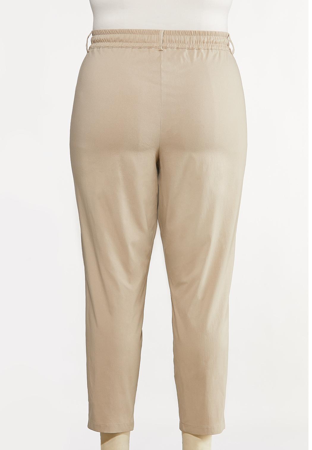 Plus Size Tie Waist Bengaline Pants (Item #44170528)