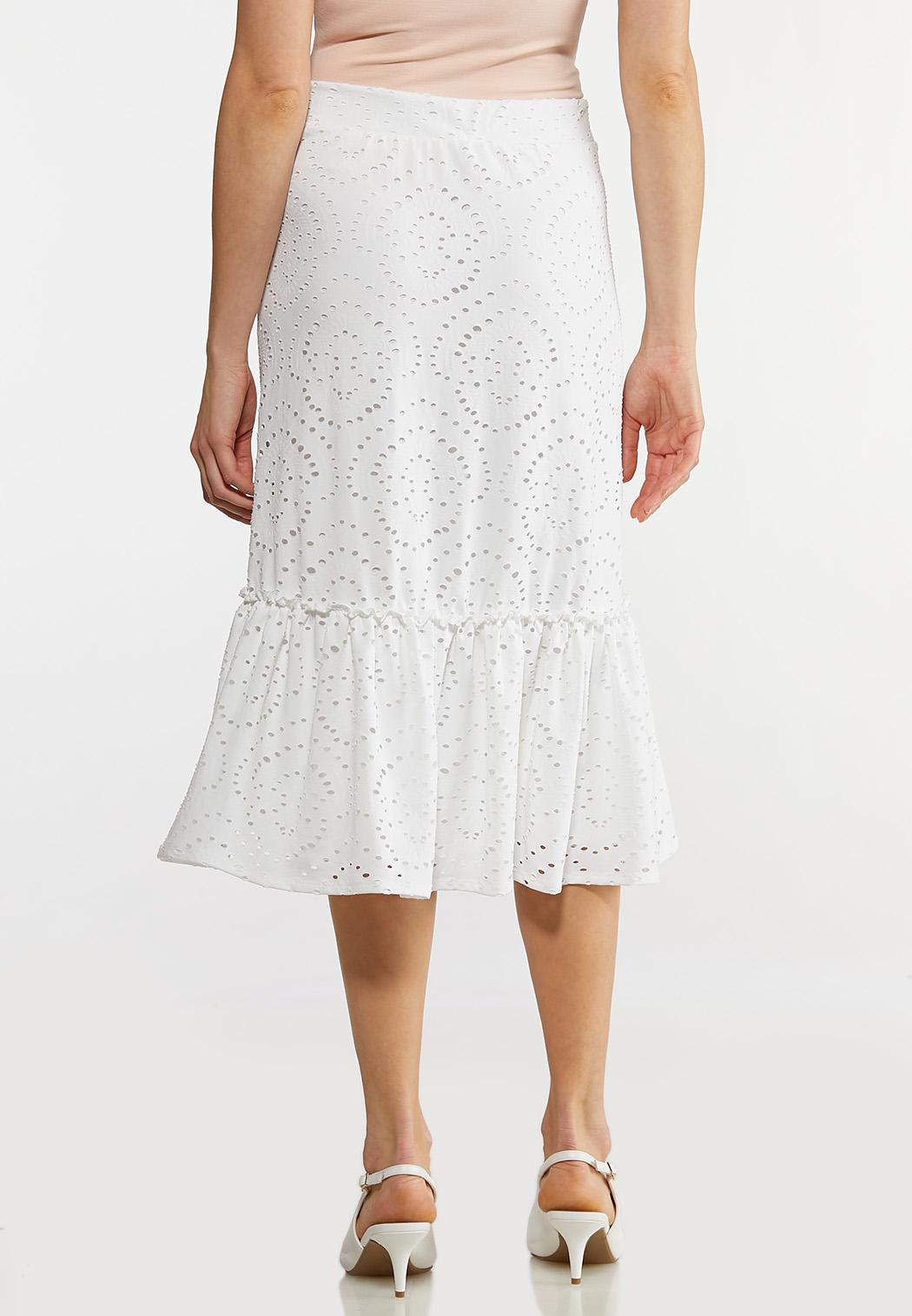 Plus Size Eyelet Button Midi Skirt (Item #44171075)