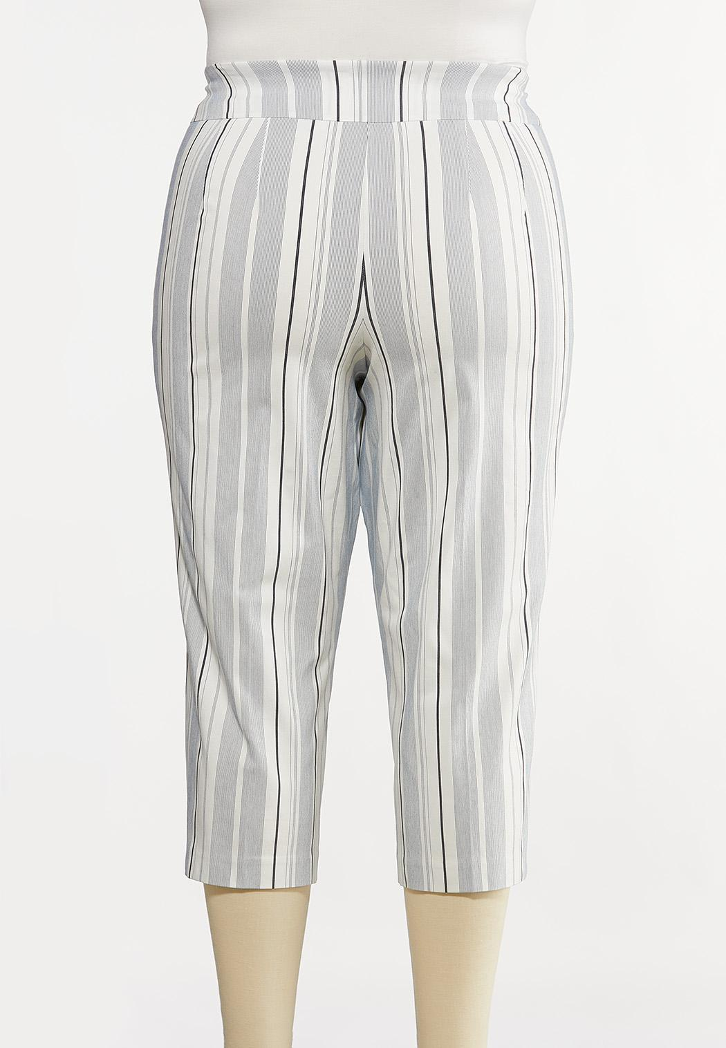 Plus Size Stripe Bengaline Pants (Item #44171955)