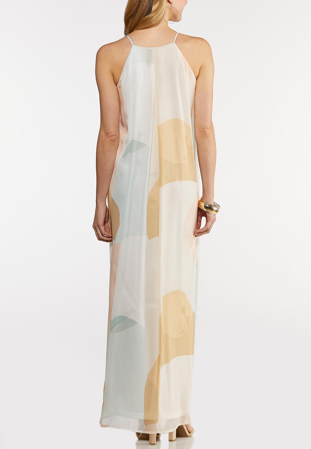Petite Geo Halter Maxi Dress (Item #44172625)