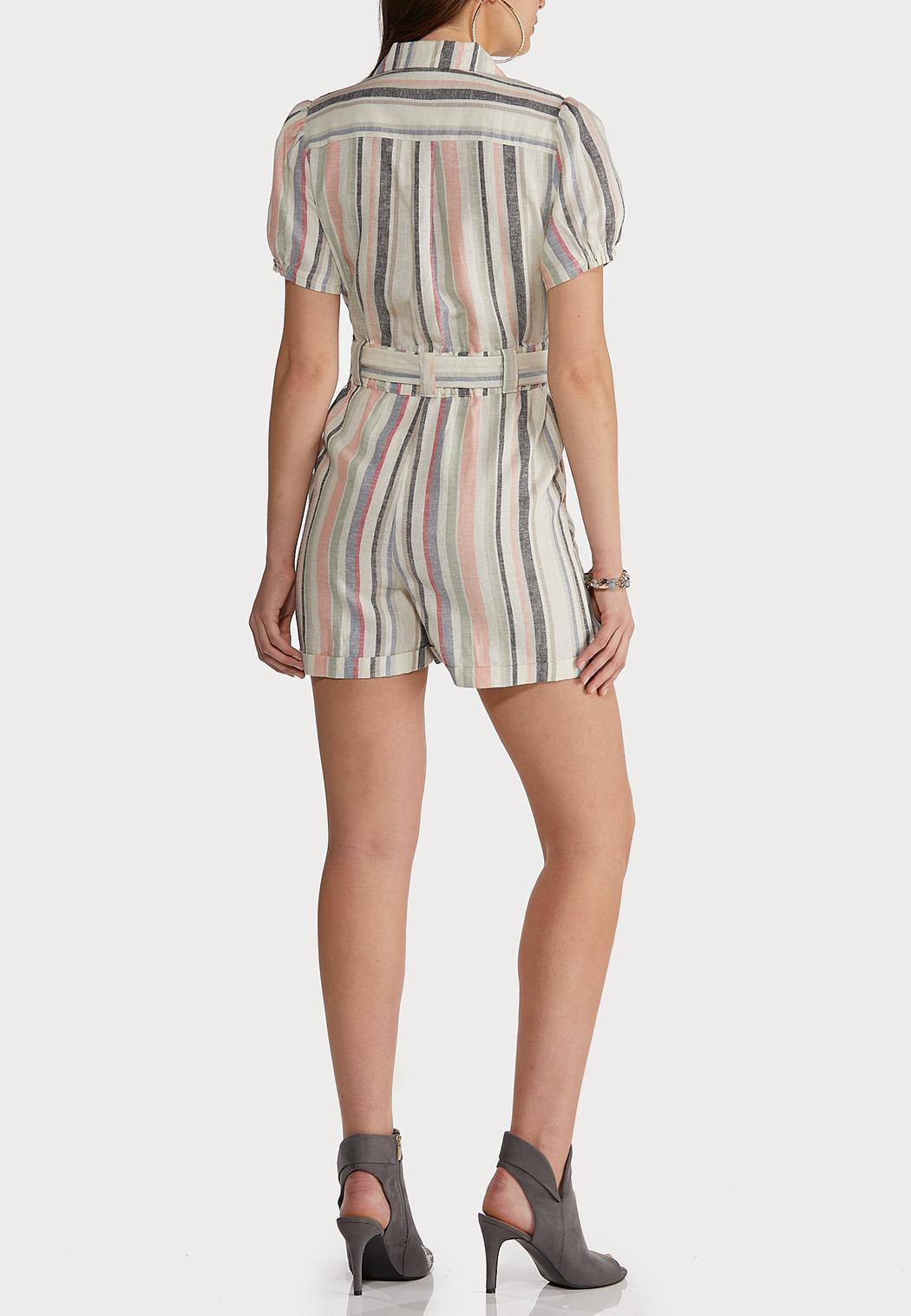 Striped Linen Romper (Item #44172746)