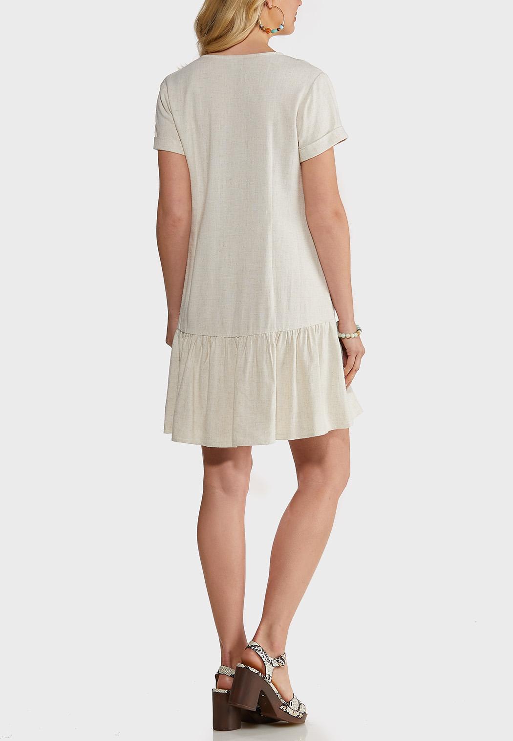 Flounced Linen Swing Dress (Item #44172953)