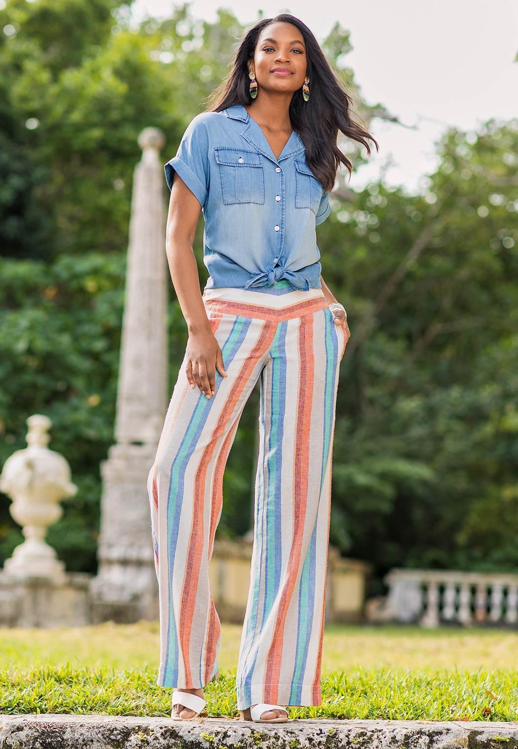 Plus Size Citrus Stripe Linen Pants (Item #44173648)