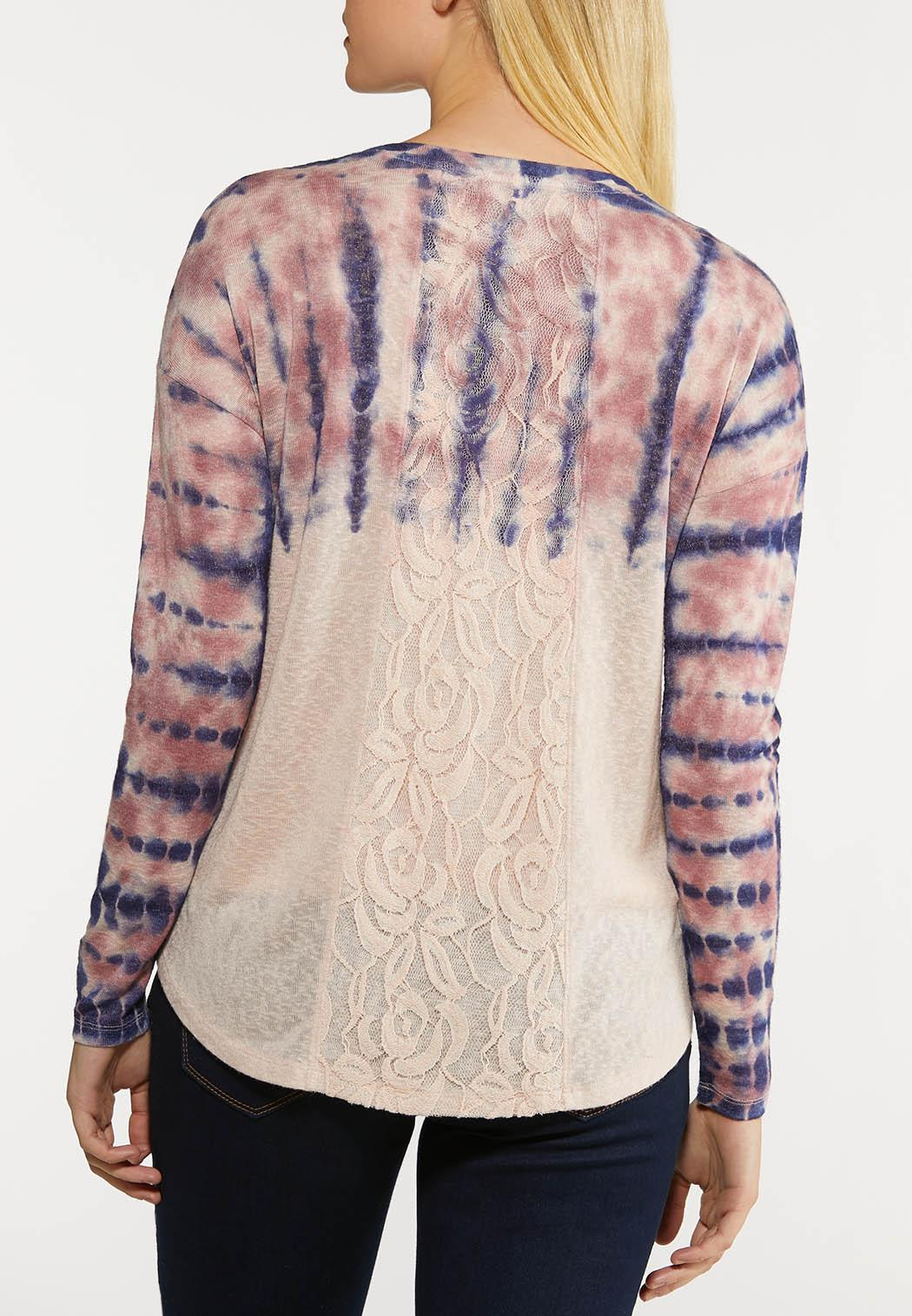 Plus Size Tie Dye Lace Back Top (Item #44173783)