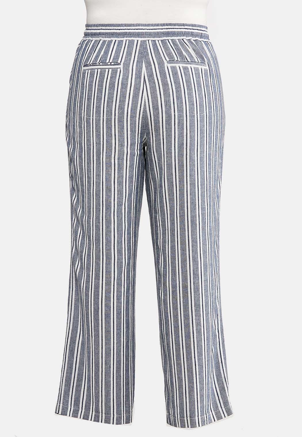 Plus Size Stripe Linen Beach Pants (Item #44174026)