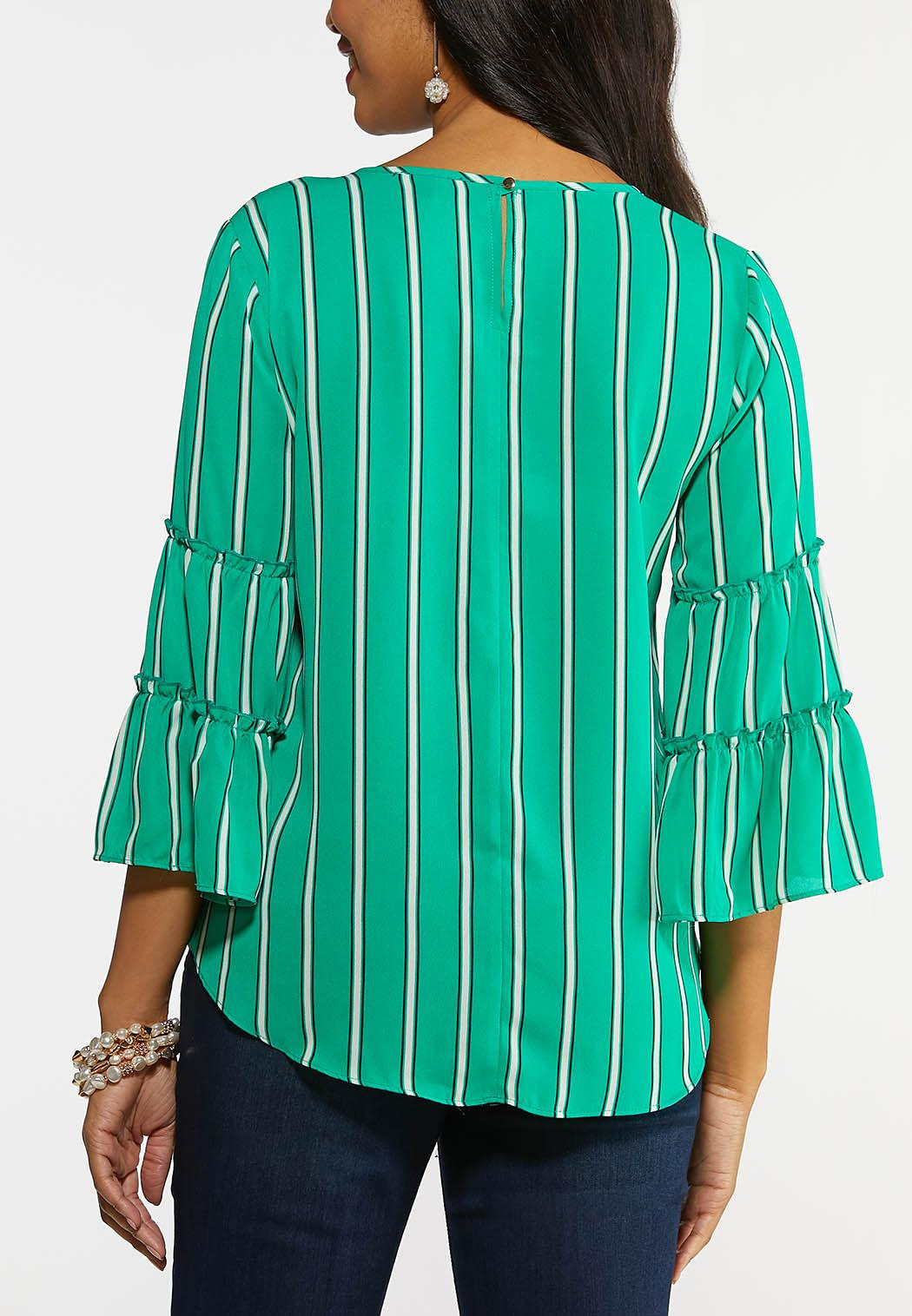 Plus Size Striped Pearl Embellished Top (Item #44175431)