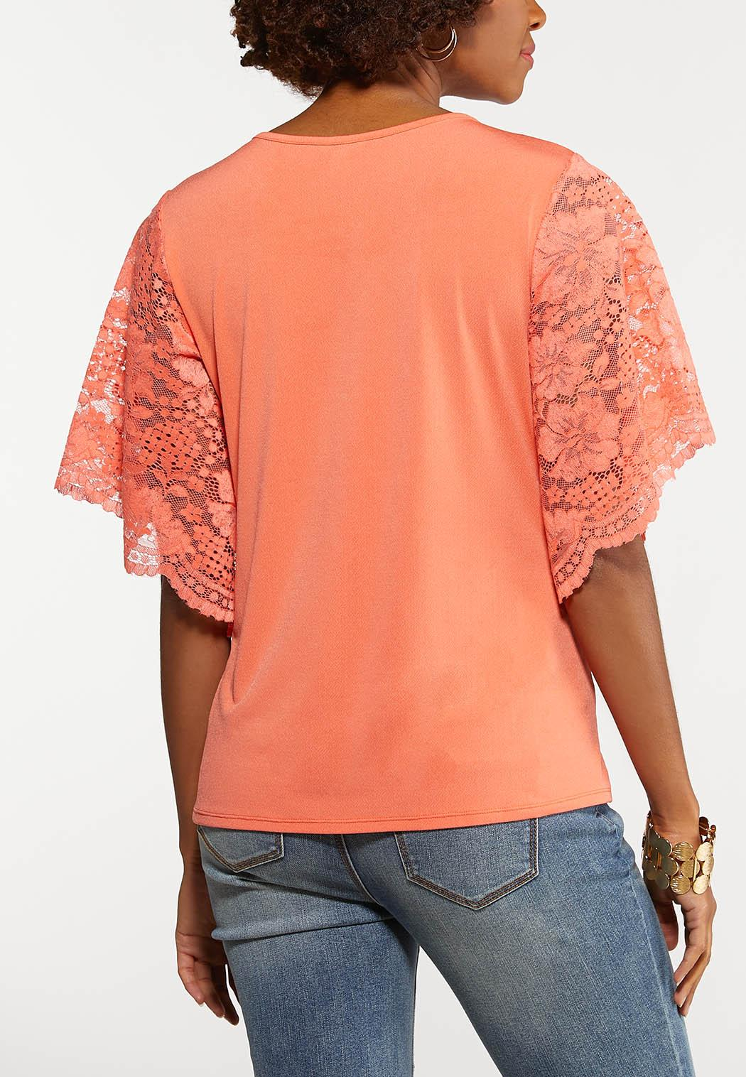 Coral Lace Sleeve Top (Item #44175708)