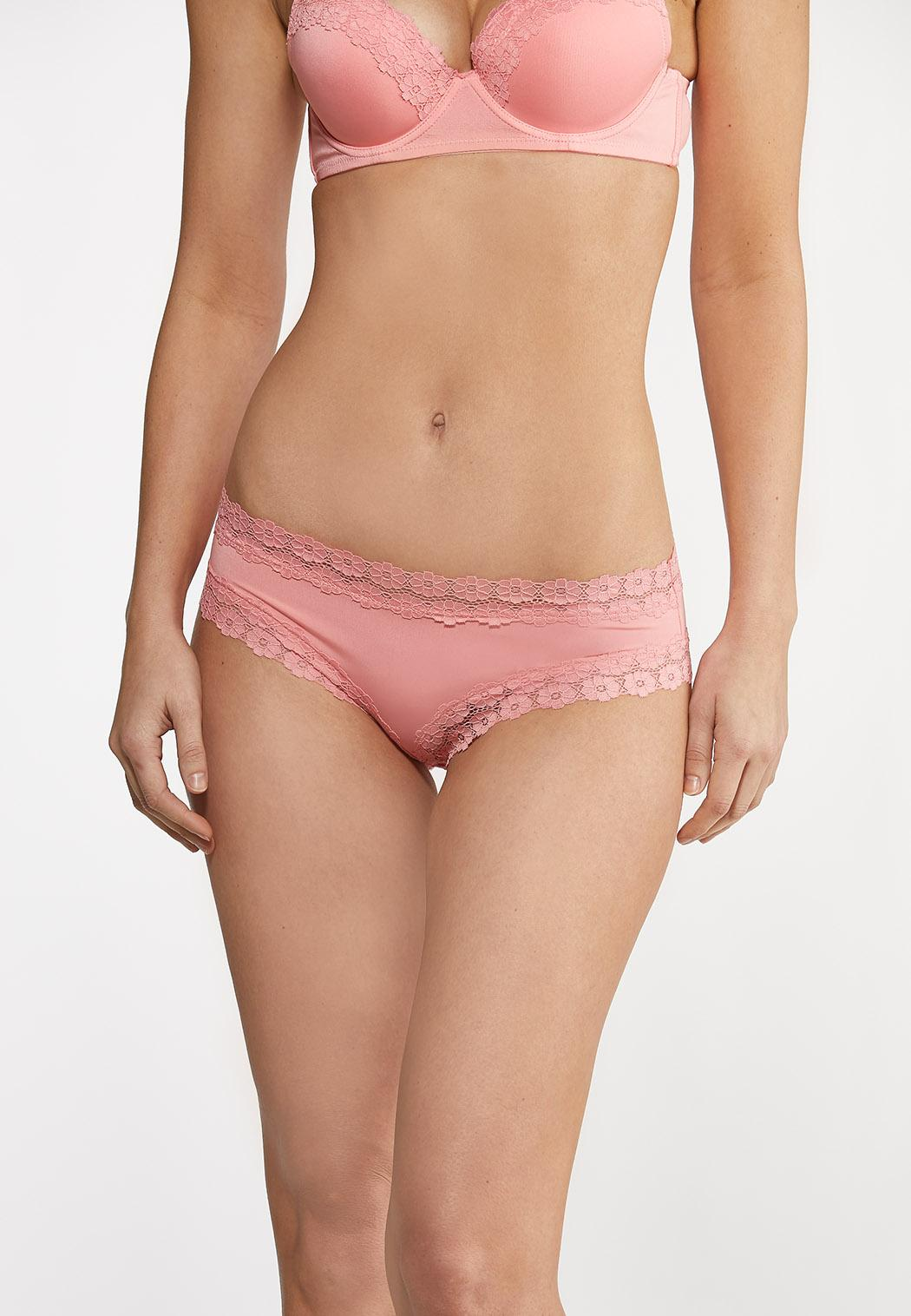 Plus Size Bright White And Coral Panty Set (Item #44176090)
