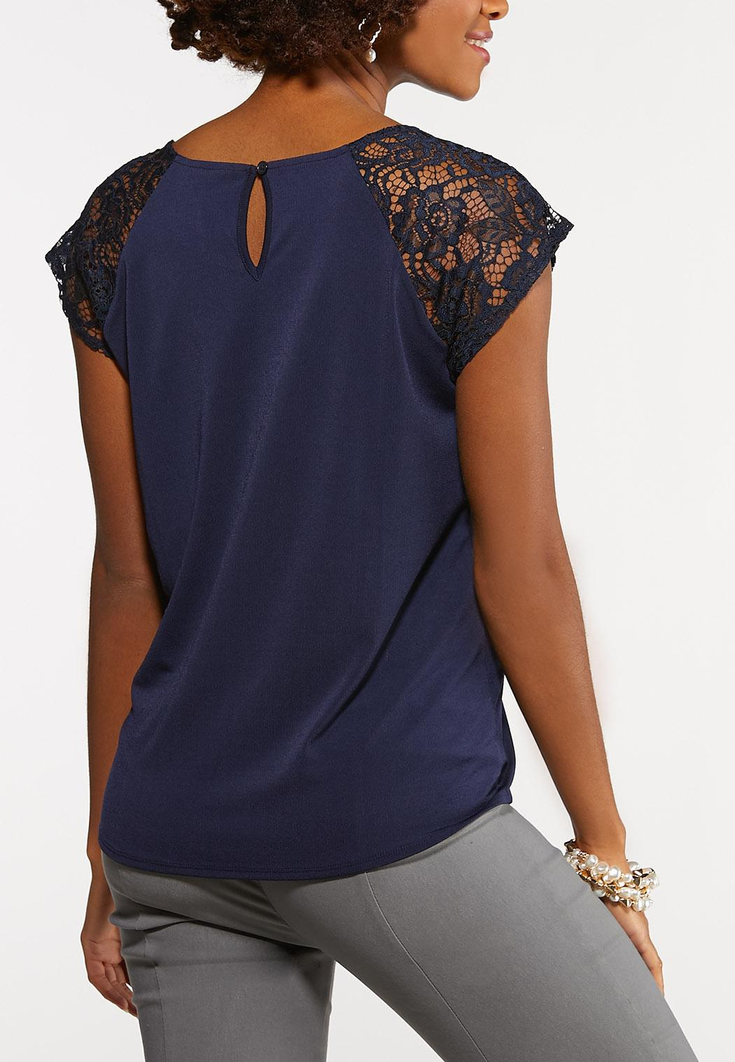 Navy Lace Panel Top (Item #44176148)