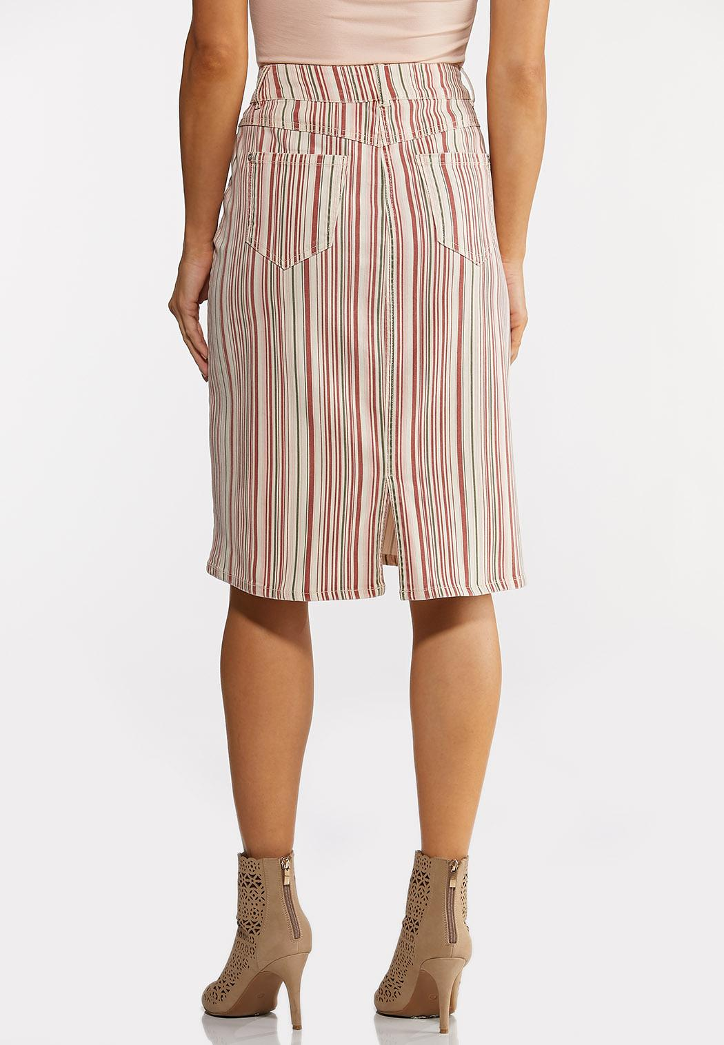 Blushing Stripe Denim Skirt (Item #44176568)