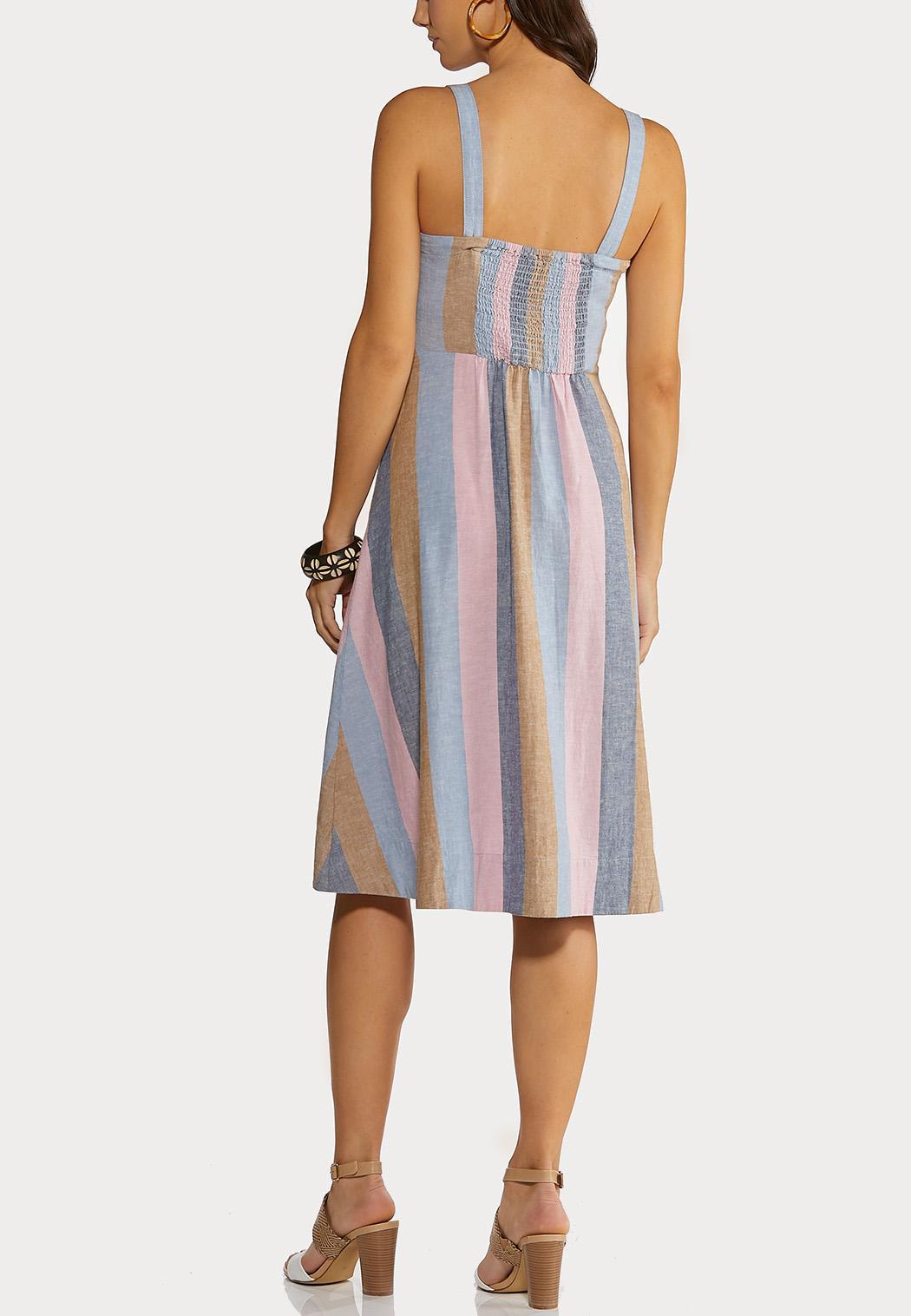 Stripe Button Linen Dress (Item #44176621)