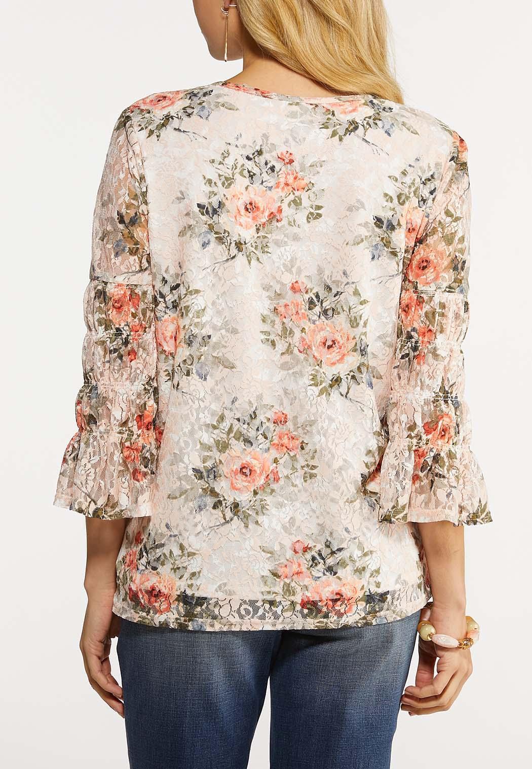 Plus Size Garden Floral Lace Top (Item #44176925)
