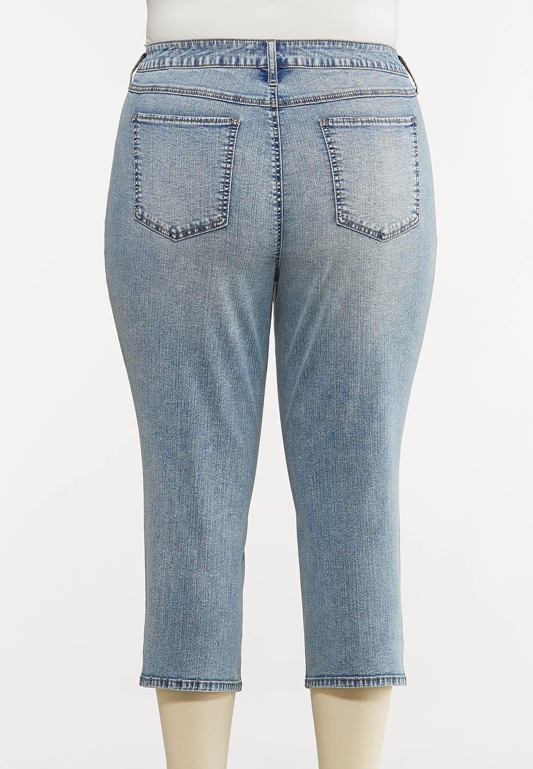 Plus Size Acid Wash Cropped Jeans (Item #44179325)
