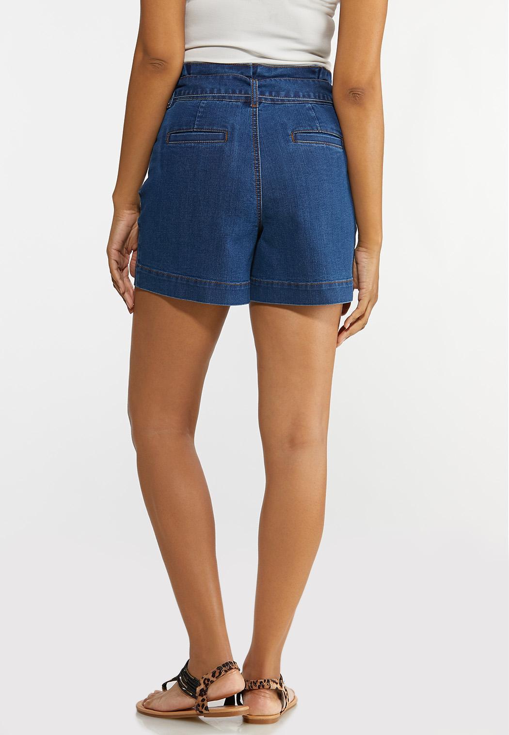 Tie Waist Denim Shorts (Item #44179456)