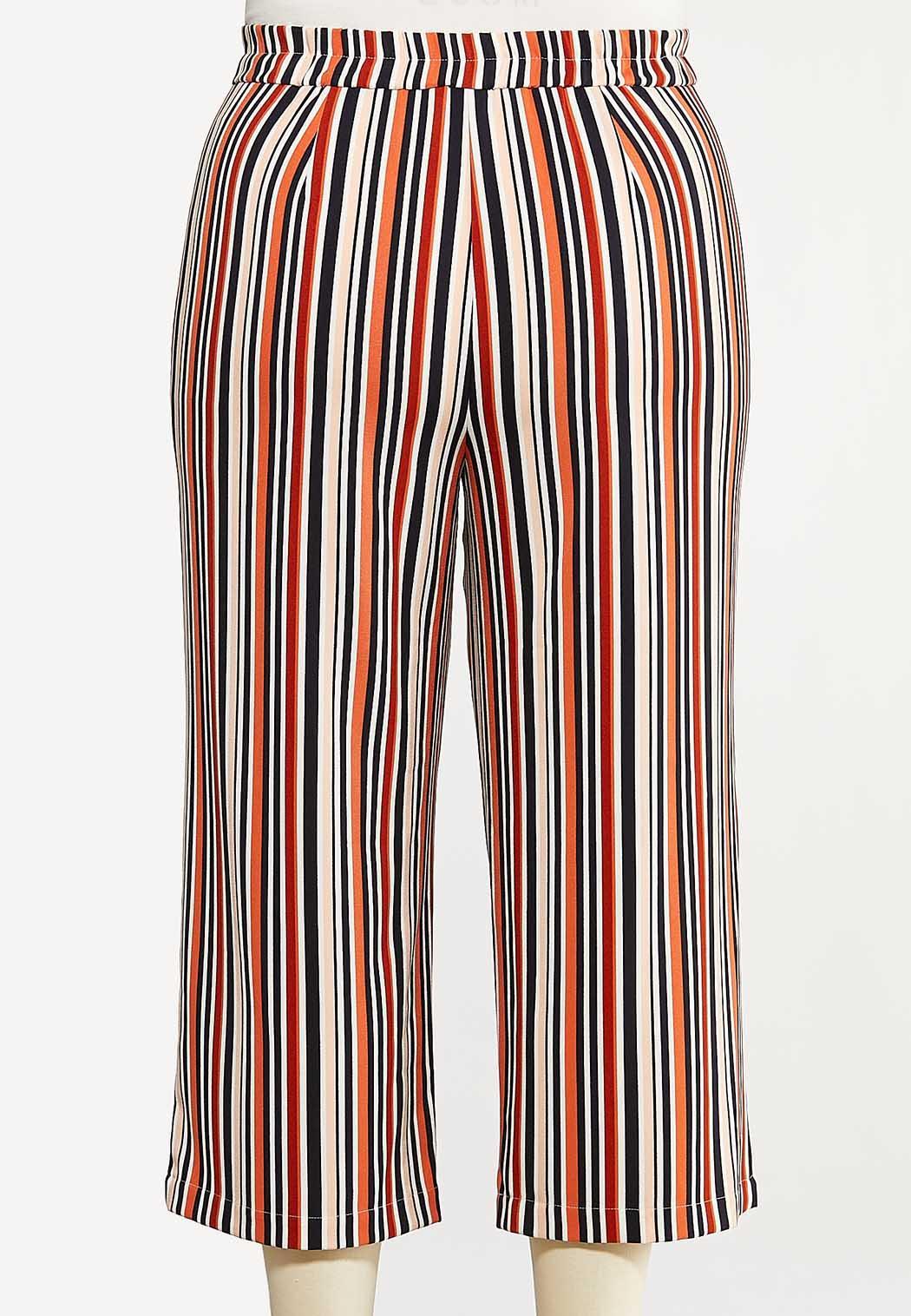 Plus Size Cropped Rust Stripe Pants (Item #44180183)
