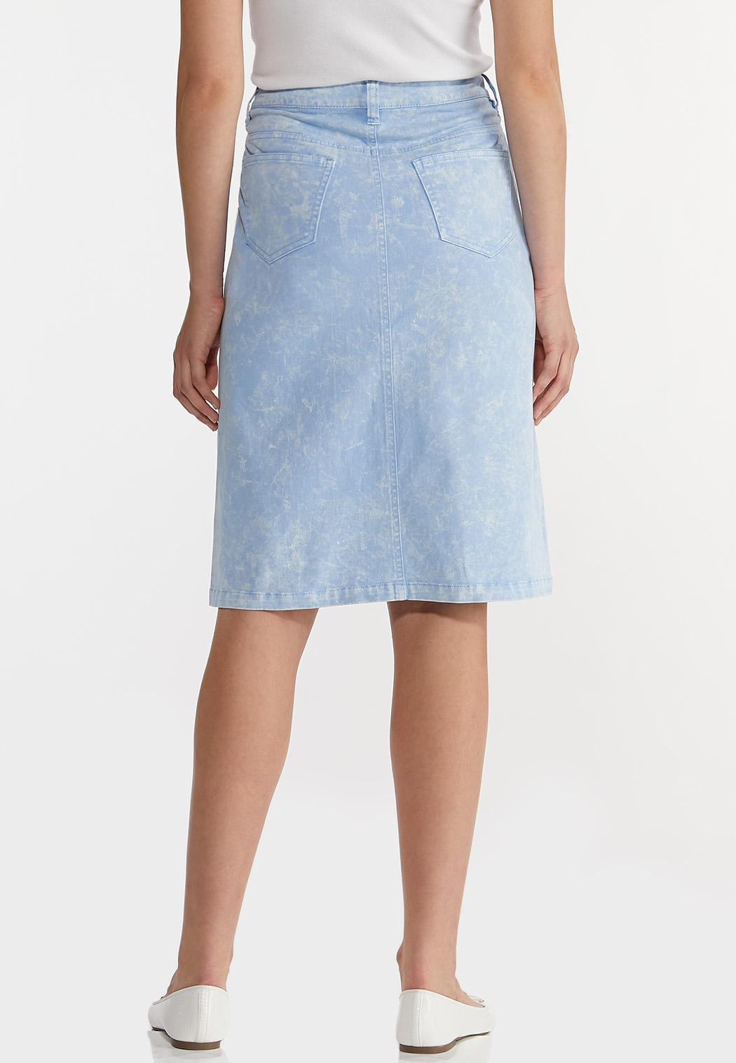Plus Size Sky Blue Denim Skirt (Item #44180436)