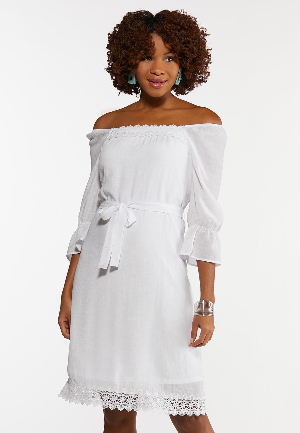 Plus Size White Square Neck Peasant Dress (Item #44181184)