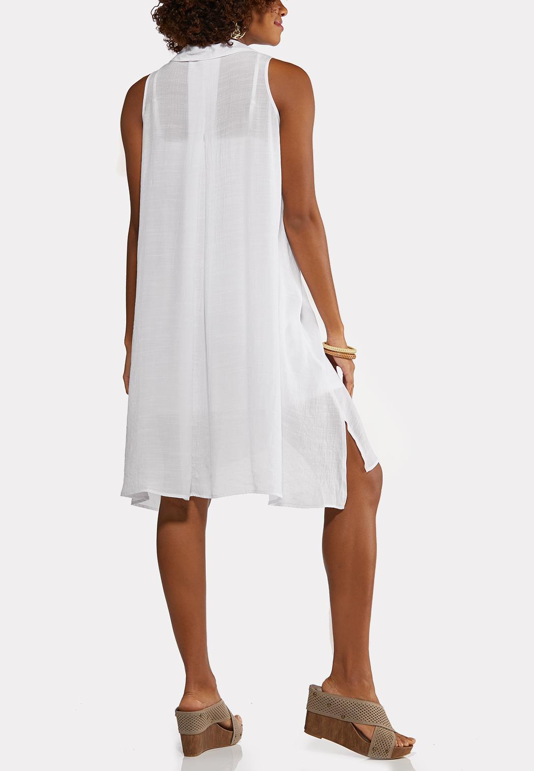 Plus Size White Gauze Shirt Dress (Item #44181241)