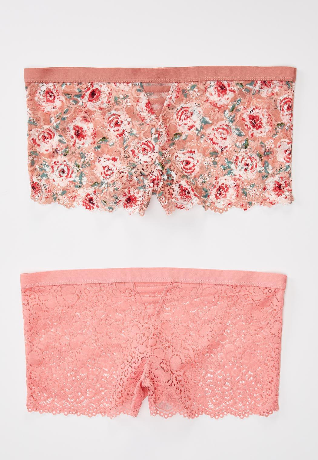 Plus Size Pink Floral Hipster Panty Set (Item #44181423)