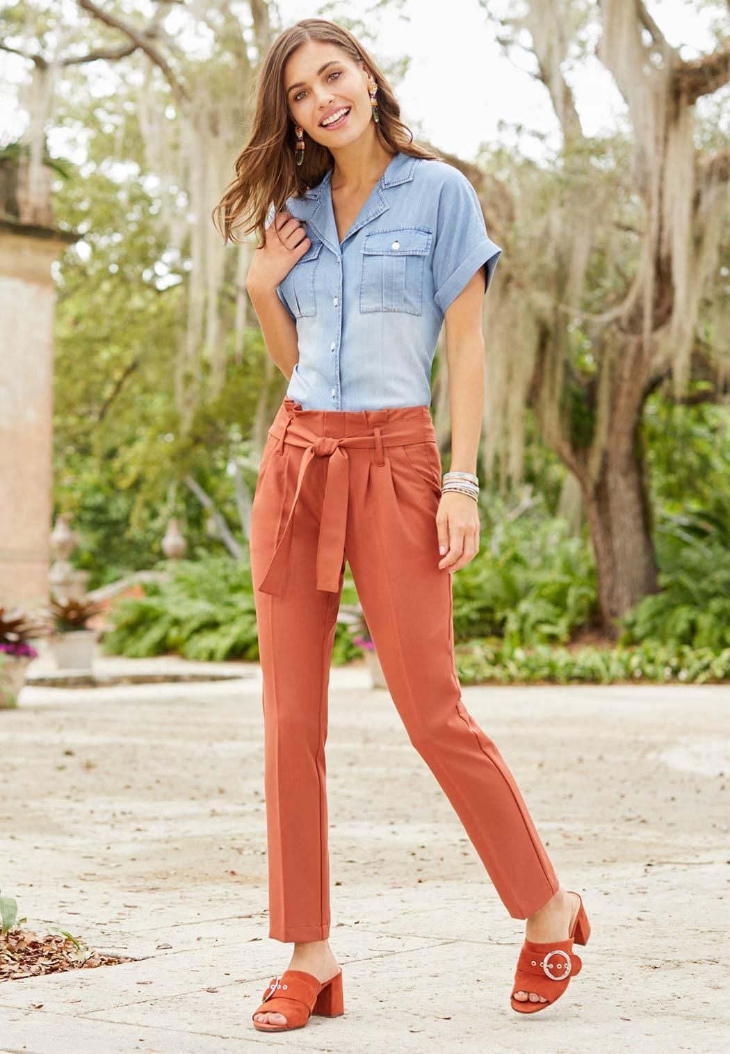 Rust Tie Waist Pants (Item #44181430)