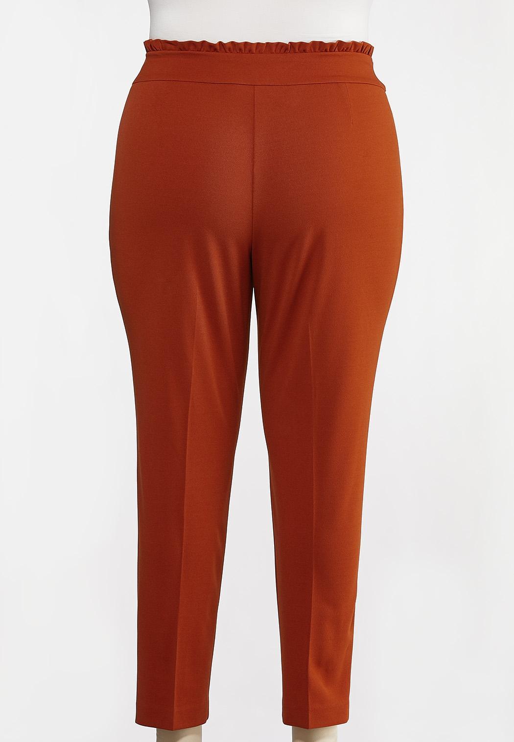 Plus Size Rust Tie Waist Pants (Item #44181474)