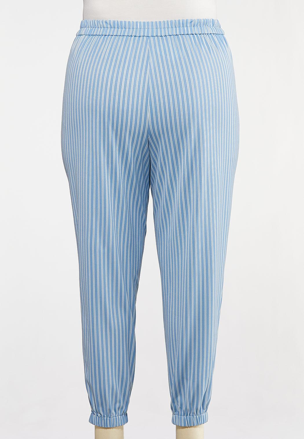 Plus Size Blue Stripe Joggers (Item #44181563)