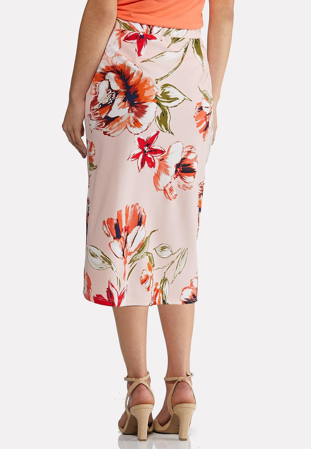 Plus Size Blush Floral Pencil Skirt (Item #44181621)