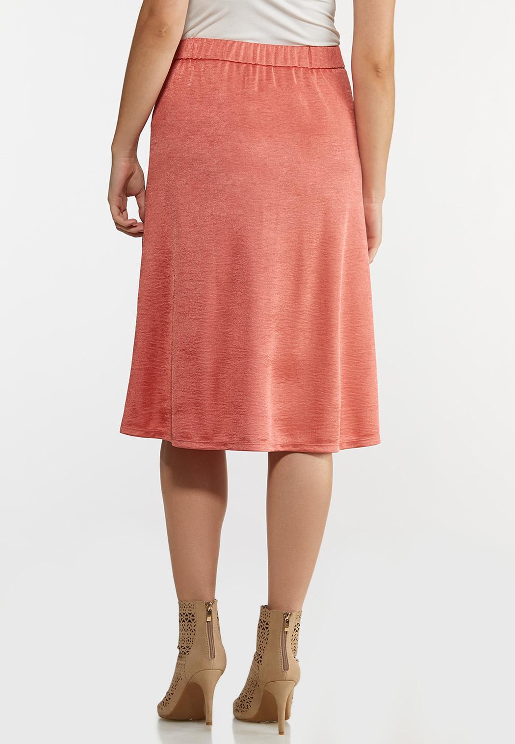 Coral Satin Slip Skirt (Item #44181643)