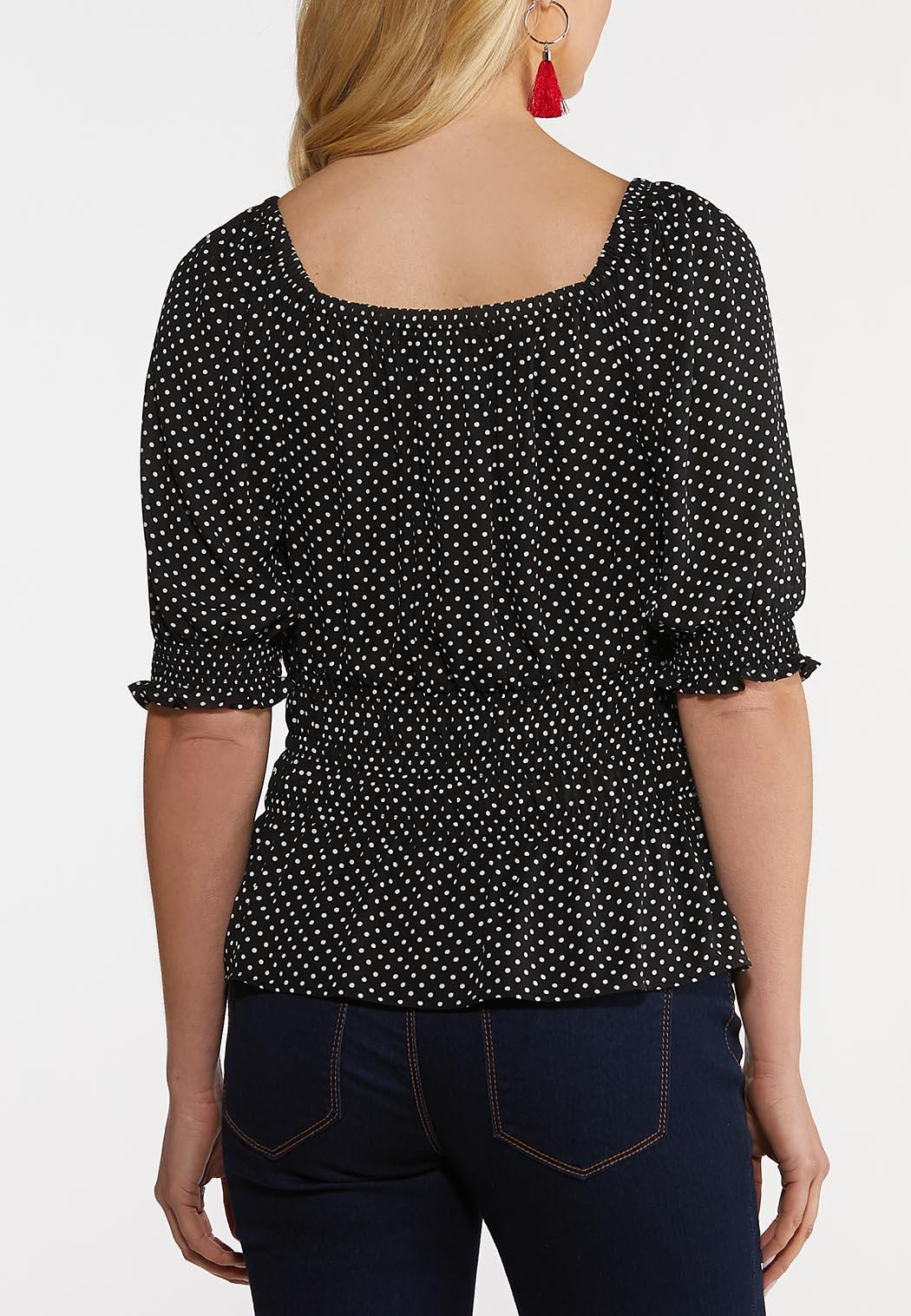 Black And White Dotted Poet Top (Item #44181732)