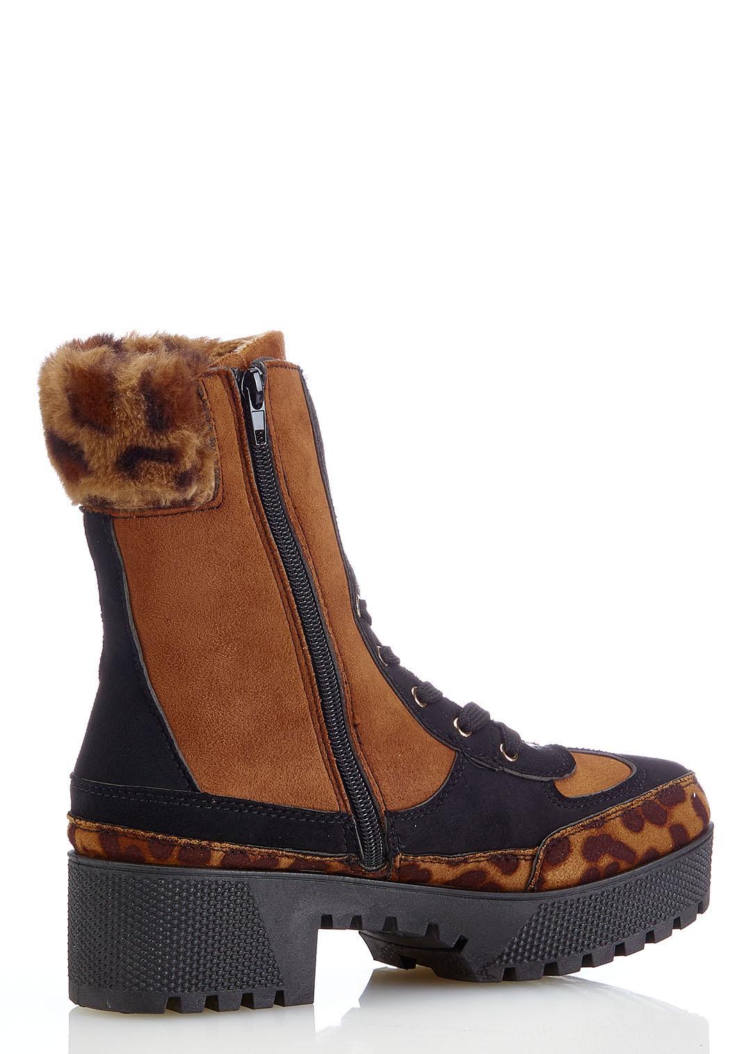 Leopard Fur Cuff Lug Boots (Item #44181941)