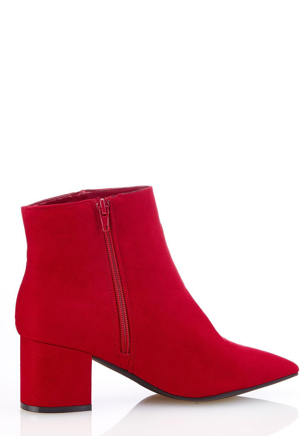 Faux Suede Block Heel Booties (Item #44182054)
