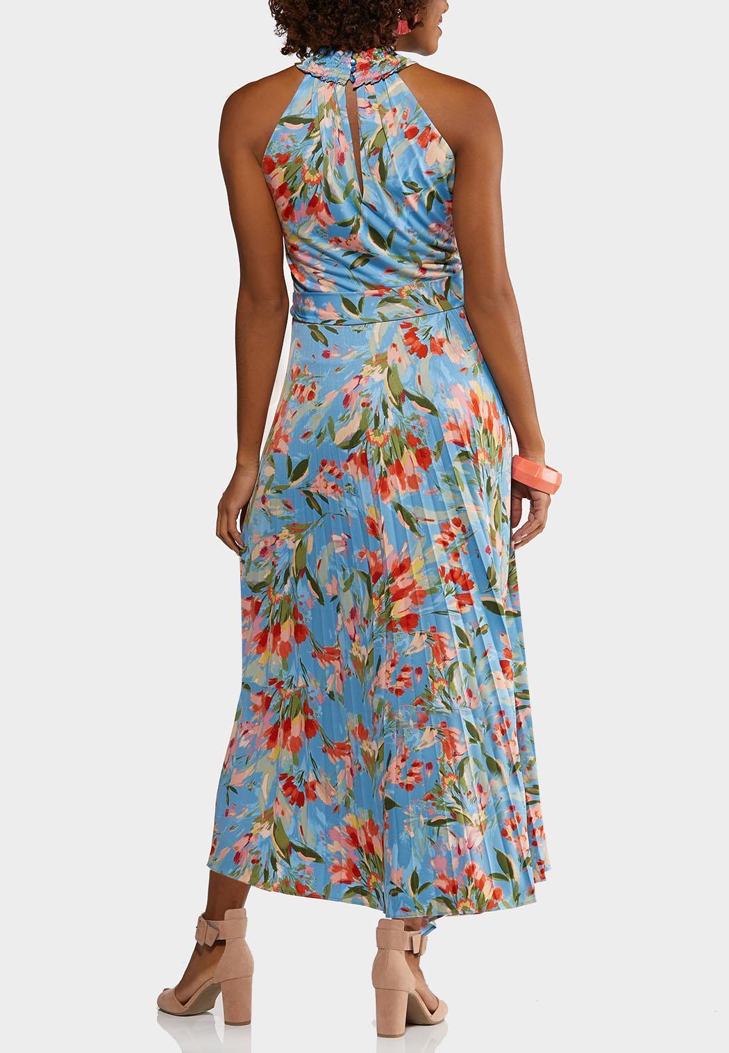 Plus Size Pleated Blue Floral Dress (Item #44182306)
