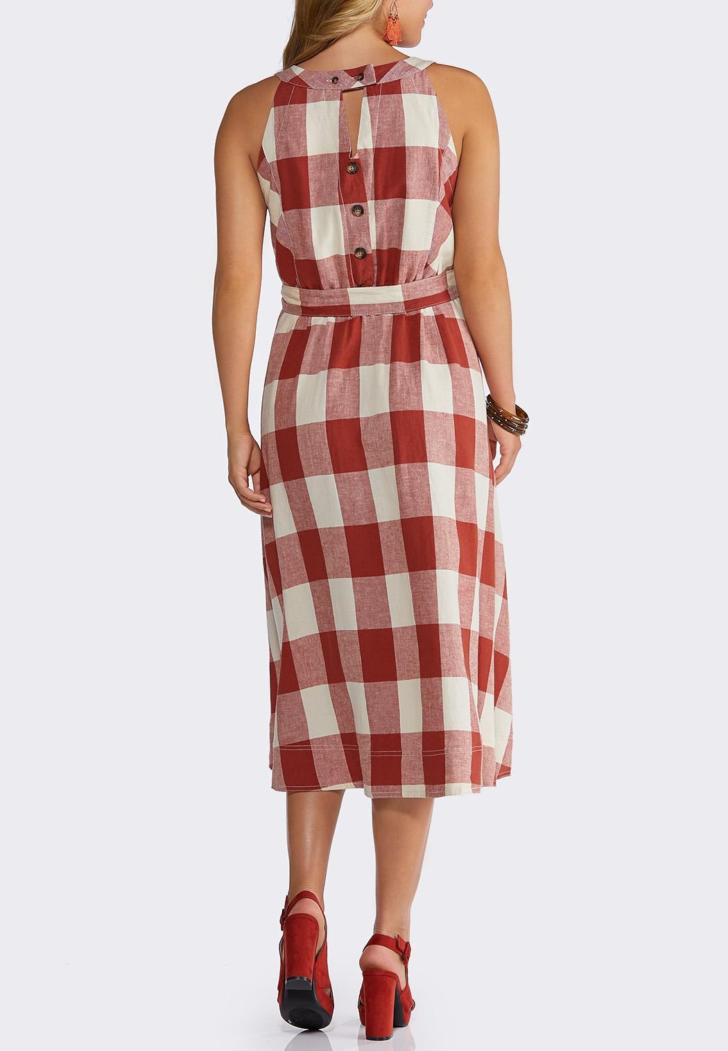 Plus Size Plaid Midi Dress (Item #44182323)