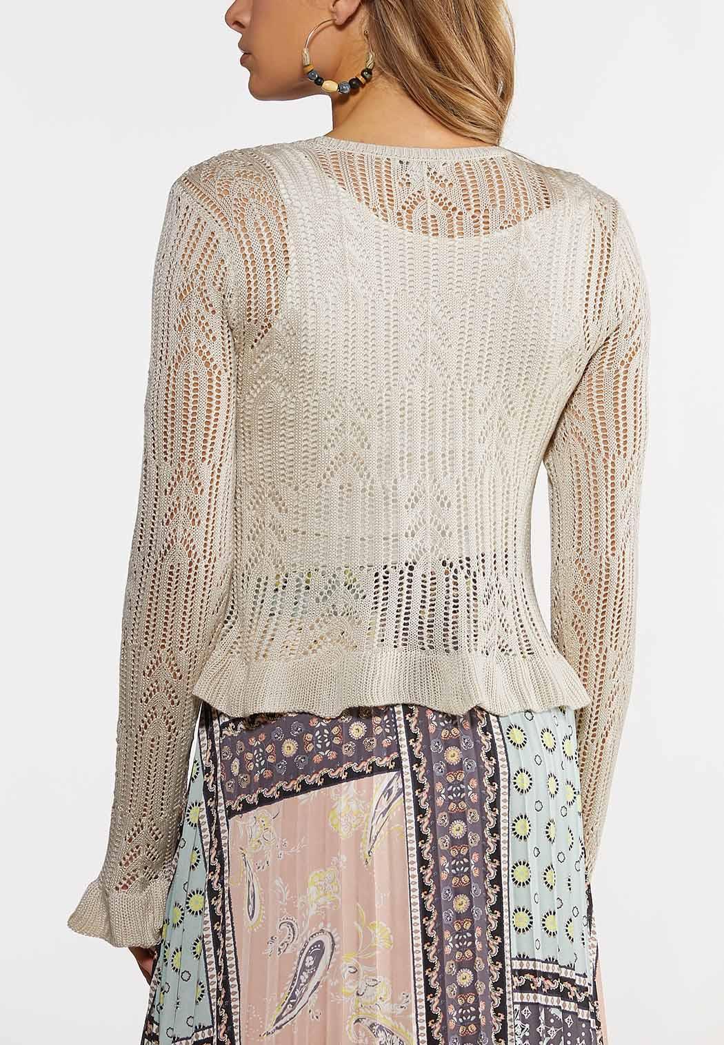 Pointelle Tie Front Cardigan Sweater (Item #44182408)