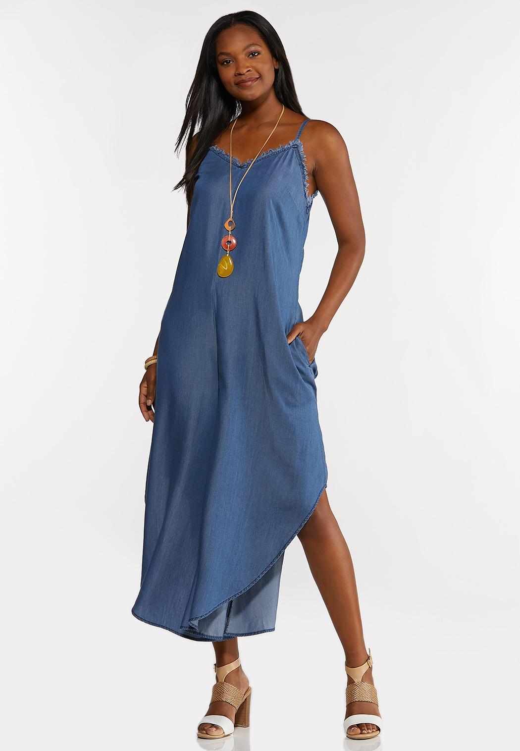 Plus Size Chambray Genie Jumpsuit (Item #44182478)