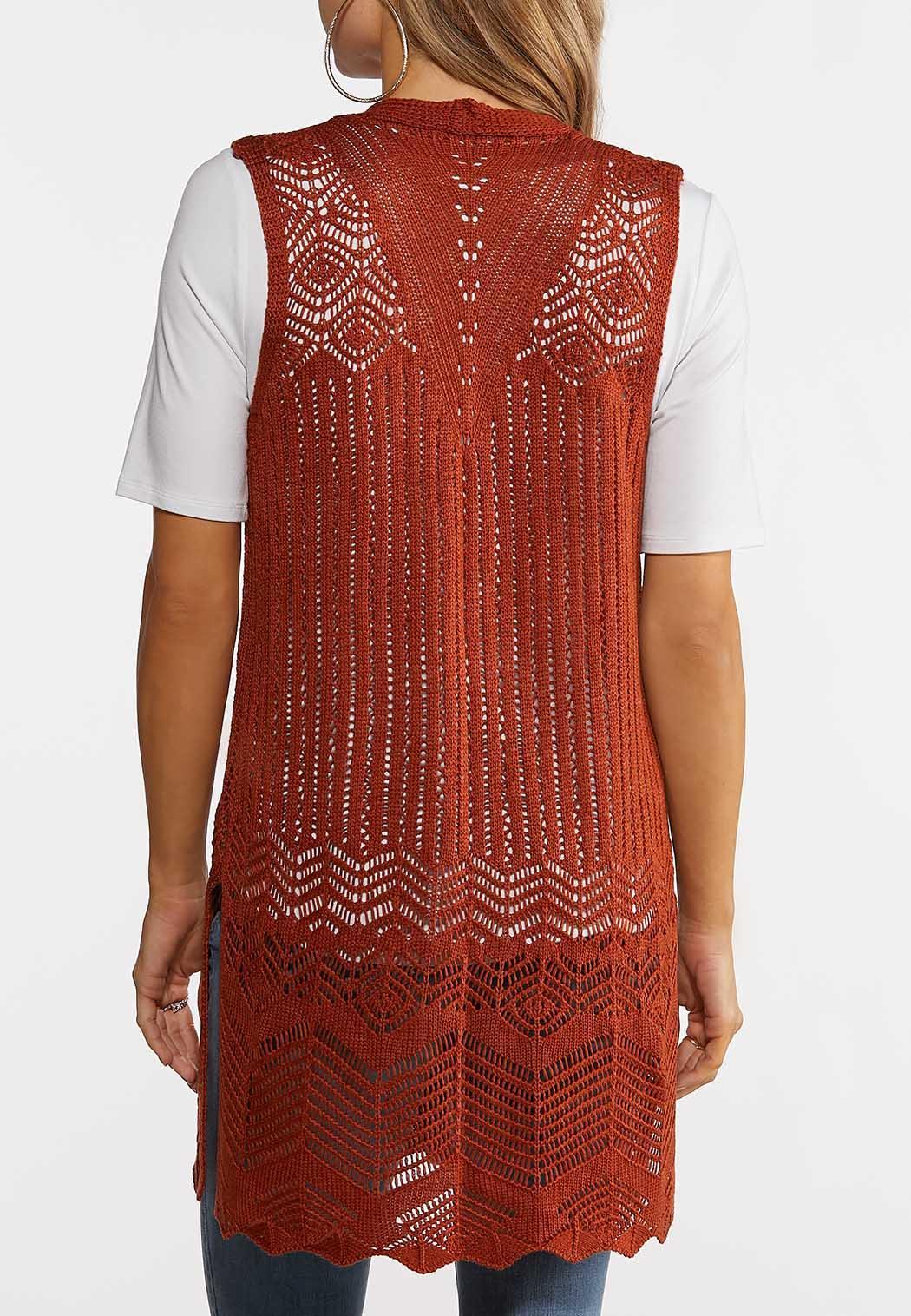 Plus Size Rust Open Stitch Sweater Vest (Item #44182494)