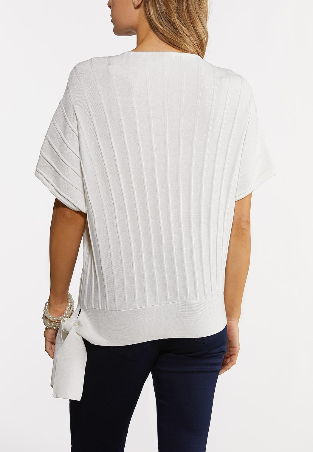 White Ribbed Tie Sweater (Item #44182519)