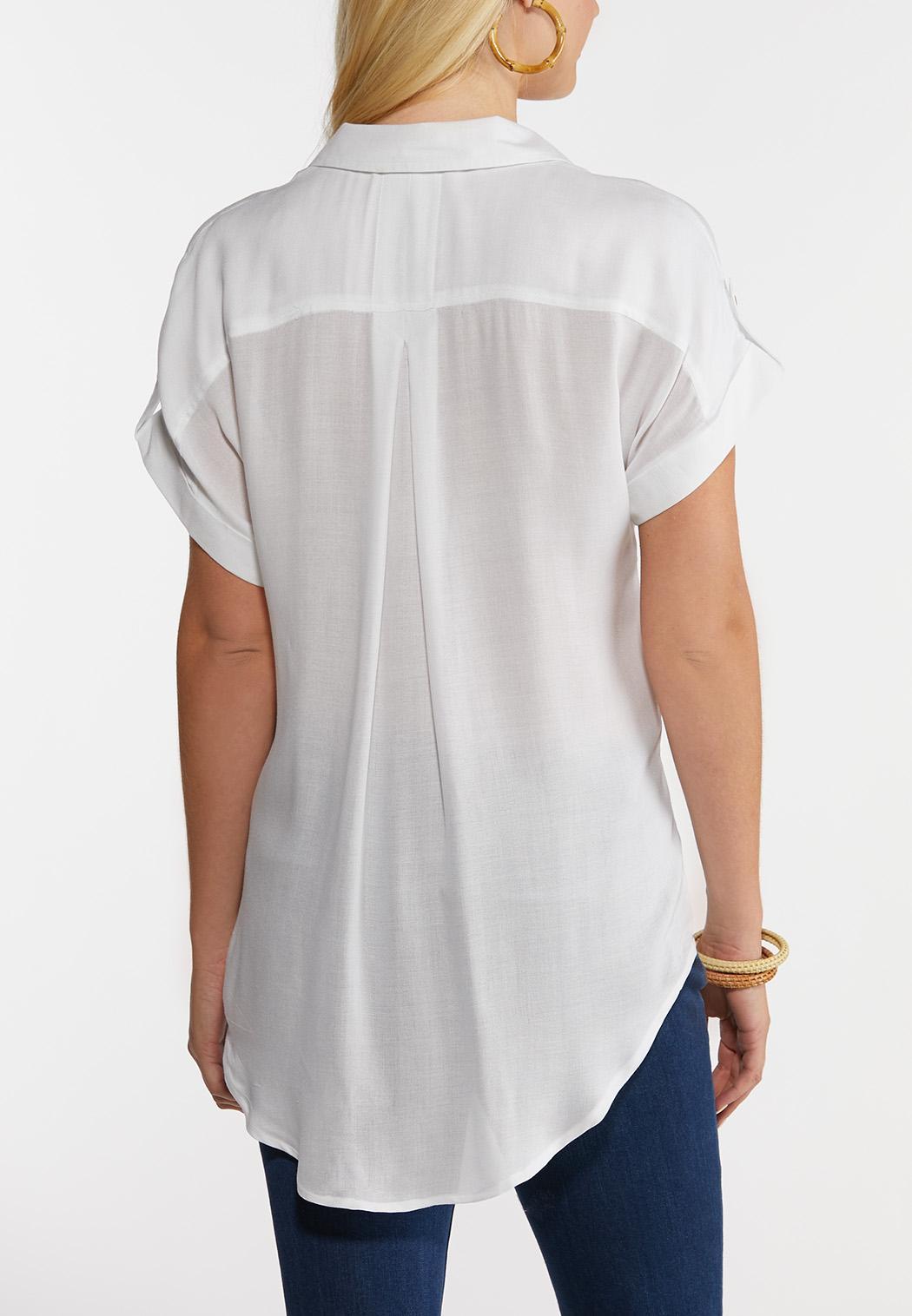 Plus Size White Crepe Button Front Shirt (Item #44182626)