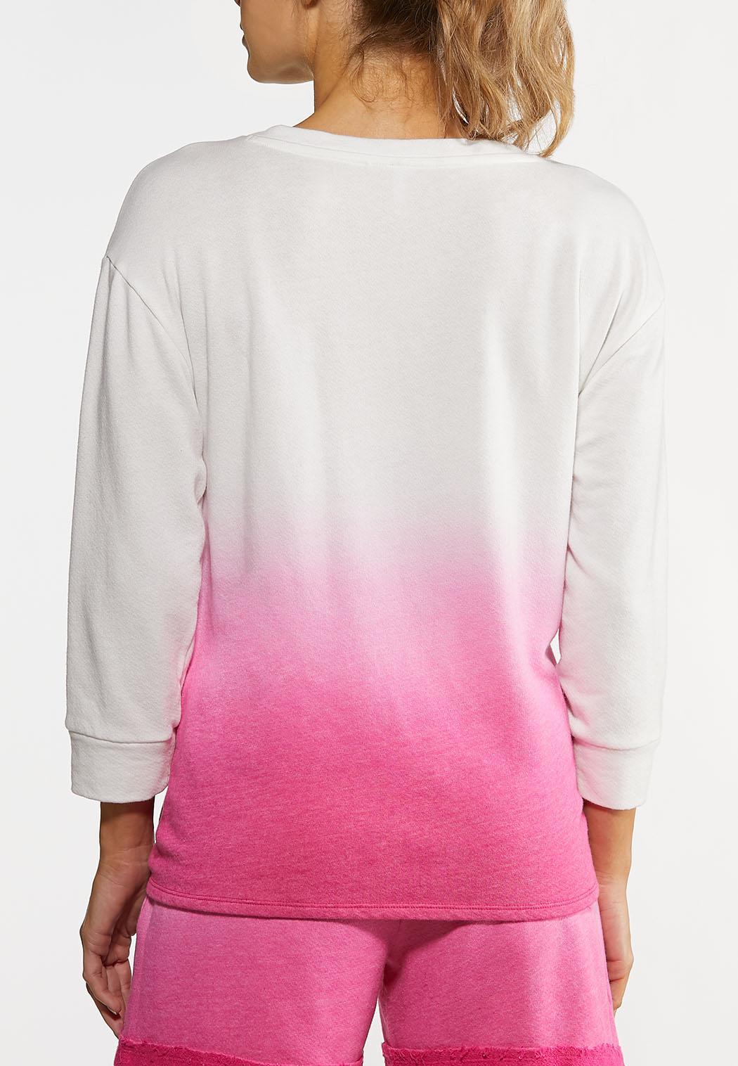 Plus Size Dip Dye French Terry Top (Item #44183466)