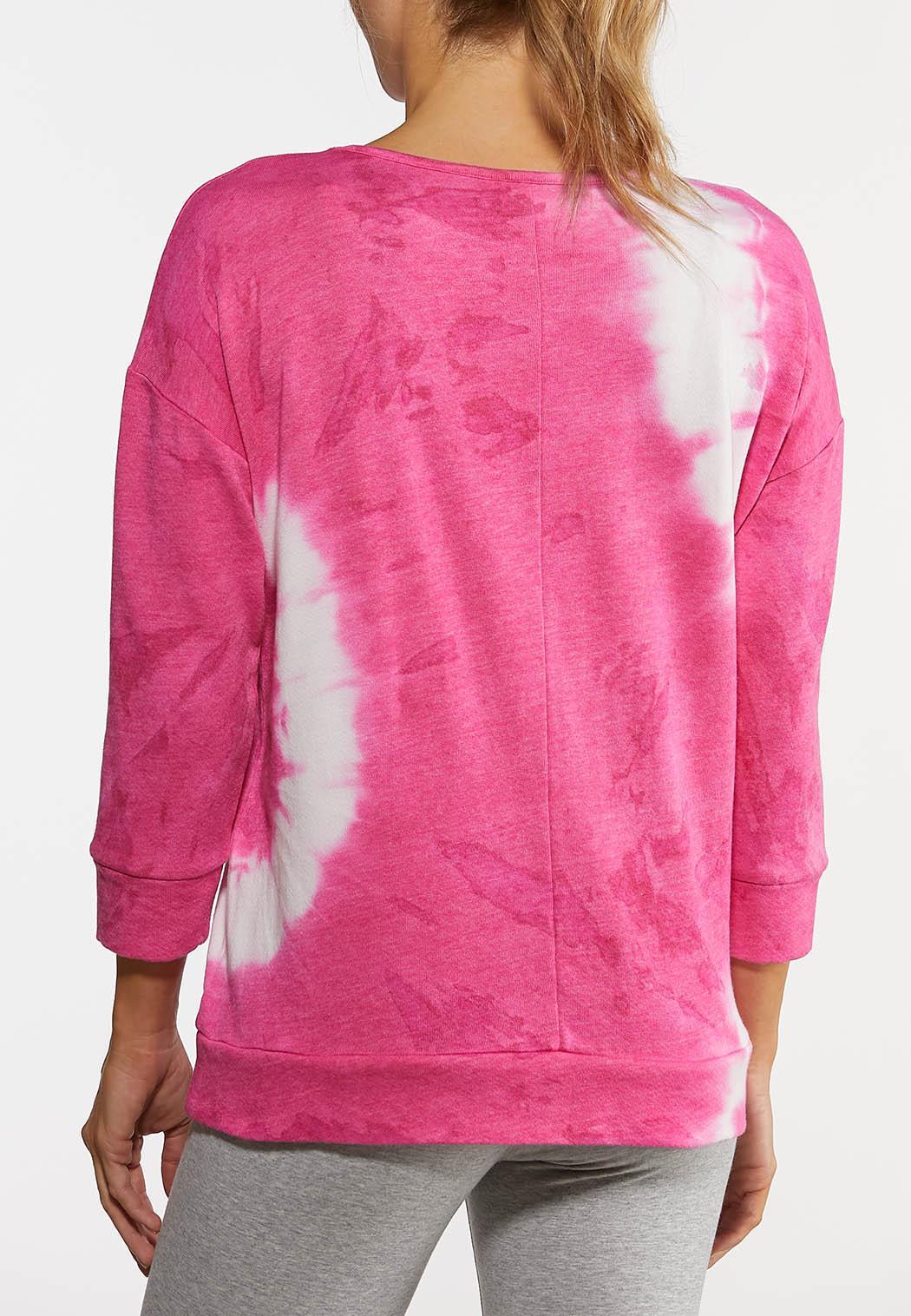 Plus Size Pink Tie Dye Sweatshirt (Item #44183494)
