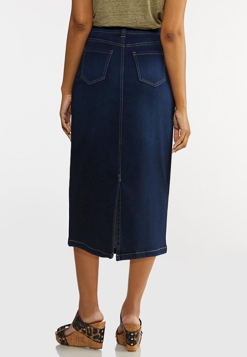 Plus Size Denim Pencil Skirt (Item #44183511)