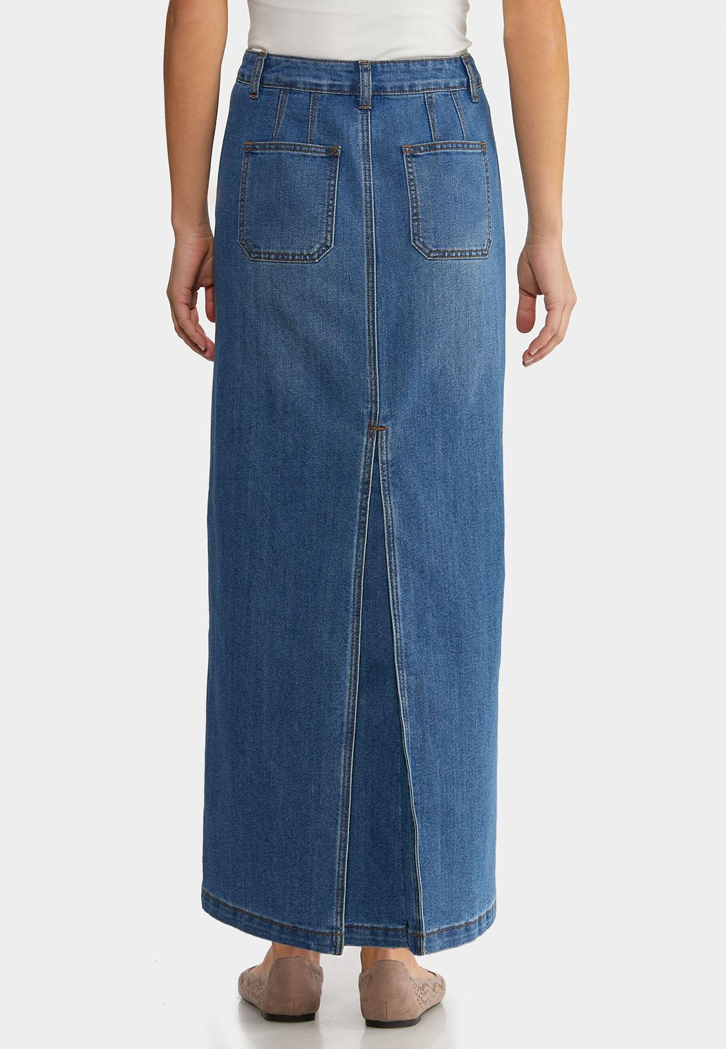 Plus Size Denim Back Pleat Maxi Skirt (Item #44183542)