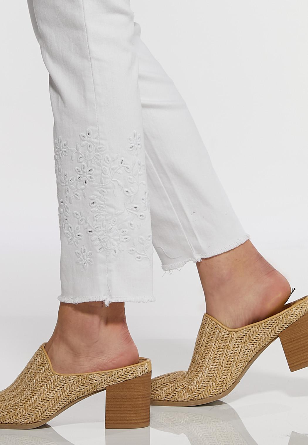 White Eyelet Hem Skinny Jeans (Item #44183582)
