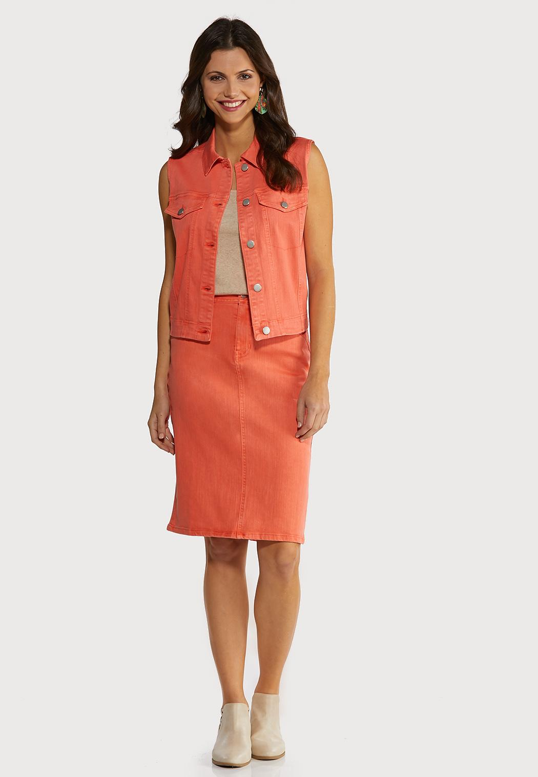Coral Denim Skirt (Item #44183596)