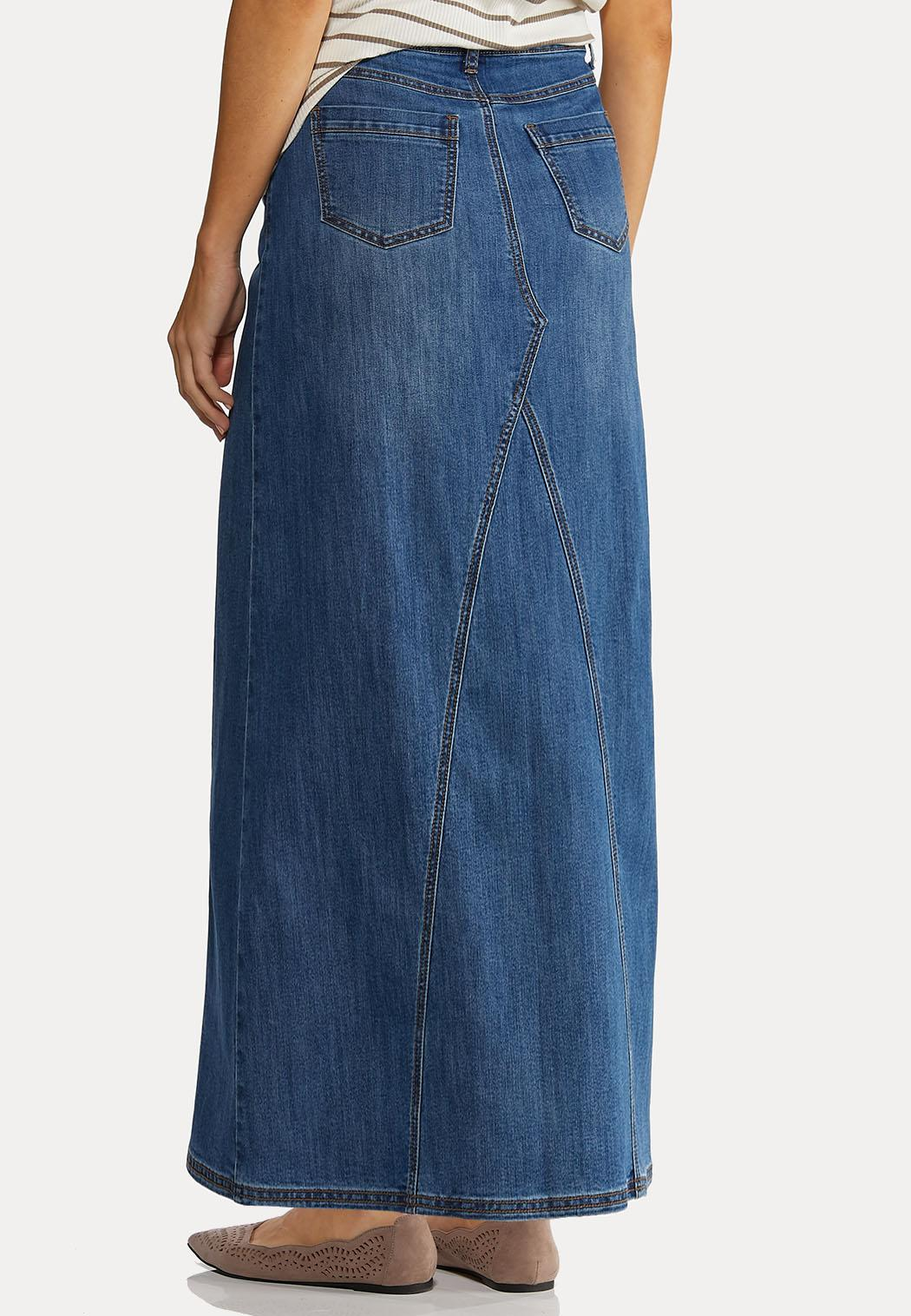 Plus Size Seamed Denim Maxi Skirt (Item #44183794)