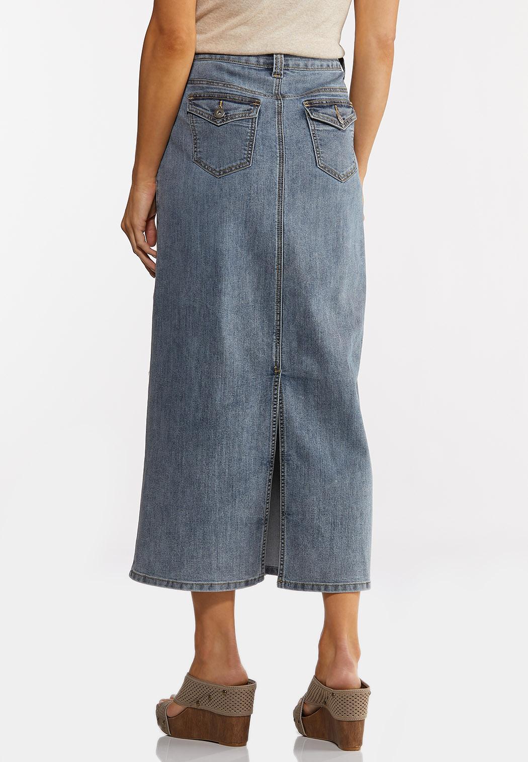 Plus Size Vintage Denim Midi Skirt (Item #44183806)